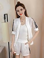 Damen Solide Freizeit Normal Shirt Hose Anzüge,V-Ausschnitt Sommer