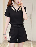 Women's Daily Modern/Comtemporary Summer T-shirt Pant Suits,Solid Asymmetrical Short Sleeve