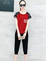 Для женщин Повседневные Лето Как у футболки Брюки Костюмы Круглый вырез,Современный В клетку С короткими рукавами
