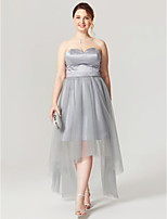 A-Line Sweetheart Asymmetrical Satin Tulle Cocktail Party Homecoming Dress with Sash / Ribbon Pleats by TS Couture®