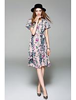 Для женщин На выход На каждый день Очаровательный Шифон Платье Цветочный принт,V-образный вырез До колена С короткими рукавами Полиэстер