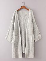 Longue Cardigan Femme Sortie Décontracté / Quotidien simple,Couleur Pleine Mao Manches Longues Coton Printemps Automne Fin Moyen