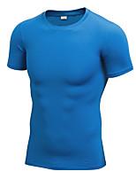 Homens Camiseta de Corrida Manga Curta Fitness, Corrida e Yoga Secagem Rápida Redutor de Suor Casual Camiseta Pulôver Blusas para Correr