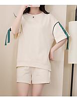 Для женщин Повседневные Лето Как у футболки Брюки Костюмы Круглый вырез,Простой Однотонный С короткими рукавами