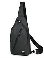 Men Sling Shoulder Bags Canvas All Seasons Casual Outdoor Round Zipper Black