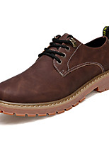 Men's Oxfords Gladiator PU Spring Summer Casual Outdoor Office & Career Gladiator Lace-up Flat Heel Khaki Brown Yellow 1in-1 3/4in