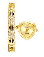 Women's Fashion Watch Bracelet Watch Quartz Alloy Band Heart shape Black Gold