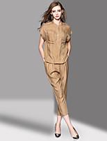 Chemise Pantalon Costumes Femme,Rayé Quotidien Décontracté Décontracté Printemps Eté Manches Courtes Mao non élastique