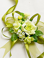 Yuxiying Wedding Wrist Corsages Dark Green Small Rose