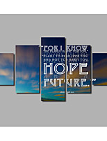 Inspirational Quotes For Livingroom Decoration Sunset Sky Scene Painting on Canvas Posters 5pieces Landscape Frameless For Home Wall Art