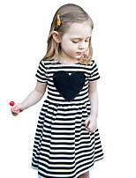 Girl's Striped Dress Cotton Summer Short Sleeve Heart 2017 New Fashion Kids Girls Dresses