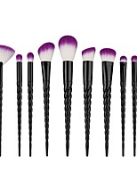 10 pcs Makeup Brush Set Eyeshadow Brush Fan Brush Foundation Brush Nylon Cute Full Coverage Aluminum Wood Face
