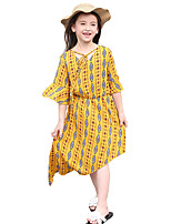 Girl's Fashion Print Dress,Terylene Summer Short Sleeve