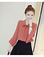 Women's Casual/Daily Simple Blouse,Solid V Neck Long Sleeve Polyester Others