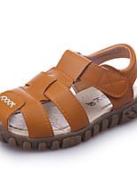 Boys' Sandals Comfort Light Soles Spring Summer PU Walking Shoes Casual Outdoor Magic Tape Flat Heel White Black Brown Flat