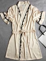 Robe de chambre Satin & Soie Vêtement de nuit Femme,Sexy Rétro Solide