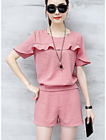 Women's Casual Simple Summer T-shirt Pant Suits,Solid Round Neck Short Sleeve Micro-elastic