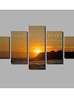 5pieces Frameless Inspiration Lettering Art Home For Livingroom Wall Decoration Ocean Scenery Painting on Canvas Posters& Psoter