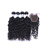 4 Bundles 400g 100% Unprocessed Natural Wave Brazilian Remy Human Hair Wefts with 1Pcs 4x4 Lace Closures  Natural Black Human Hair Extensions/Weaves