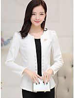 Women's Work Simple Spring/Fall Blazer,Solid Round Neck Long Sleeve Short Polyester