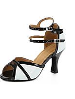 Для женщин Латина Синтетика На каблуках Профессиональный стиль Цветовые блоки На толстом каблуке Черный/Белый 5 - 6,8 см 7,5 - 9,5 см