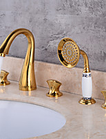Widespread Widespread with  Brass Valve Three Handles Five HolesBathroom Sink Faucet