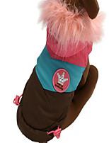 Собака Комбинезоны Одежда для собак Новый год Цветовые блоки Кофейный Красный