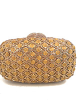 Ladies Fashional Metal  Crystal Rhinestone Evening Clutch Purse Minaudiere Gold/Silver