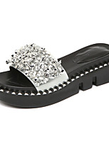 Women's Slippers & Flip-Flops Moccasin Summer Patent Leather Casual Rhinestone Wedge Heel Black Sliver 1in-1 3/4in