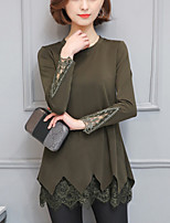 Women's Plus Size Casual/Daily Street chic Spring Fall Blouse Solid Lace Patchwork Embroidery Round Neck Long Sleeve Medium Army Green Black