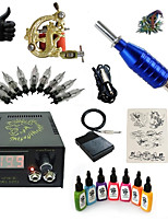 1 Set High Born Tattoo Kit HZ12 With 7x15ML Inks 5 Needles Power Supply Switch