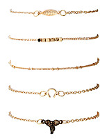 1set Women's Men's Chain Bracelet Bangles Fashion Hip-Hop Rock Metal Alloy Gold Plated Metallic Geometric Irregular Jewelry ForDailywear Date