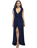 Для женщин Для вечеринок Большие размеры Пляж Секси Оболочка С летящей юбкой Платье Однотонный,Глубокий V-образный вырез МаксиБез