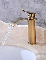 Centerset Waterfall One Hole for  Antique Copper , Bathroom Sink Faucet