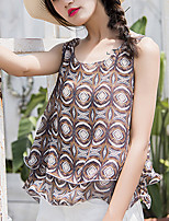 Women's Beach Going out Casual/Daily Sexy Boho Summer Fall Blouse,Geometric Print Round Neck Sleeveless Polyester Medium