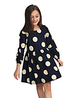 Girl's Polka dots Dress,Cotton All Seasons Long Sleeve