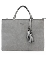 Unisex Laptop Bag Other Leather Type All Seasons Casual Office & Career Square Zipper Gray
