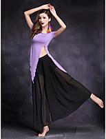 Dança do Ventre Roupa Mulheres Apresentação Modal 2 Peças Manga Curta Natural Saias Blusas