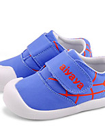 Girls' Flats First Walkers PU Spring Fall Casual Walking First Walkers Magic Tape Low Heel Blue Ruby Flat