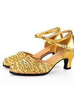 Damen Latin Gestrickt Glitzer Paillette Sandalen Absätze Sneakers Innen Rüschen Verschlussschnalle Gerafft Glitter Kubanischer AbsatzGold