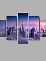 Unframed 5Pieces Wall Artwork Printed Canvas Painting City Buildings Scene Cloud Posters For Home Decor Wholesale