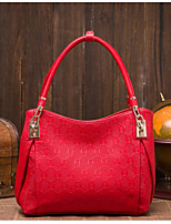 Women Tote Cowhide All Seasons Casual Outdoor Round Zipper Red Black Gold