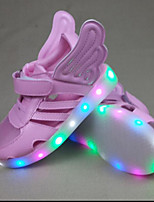 Girls' Sneakers First Walkers PU Spring Fall Casual First Walkers Magic Tape Flat Heel Blushing Pink Sliver Gold Flat