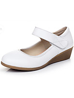 Women's Heels Formal Shoes Spring Fall Real Leather Office & Career Magic Tape Wedge Heel White Black 1in-1 3/4in