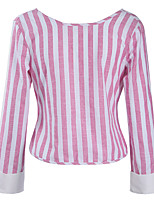 Women's Shopping Holiday Casual/Daily Sexy Street chic Spring Fall T-shirtStriped Backless Bow Nautical Details Round Neck Long Sleeve Medium
