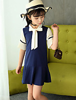 Girl's Fashion Solid Color Dress,Polyester Cotton Blend Summer 1/2 Length Sleeve