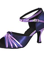 Для женщин Латина Шёлк Сандалии Кроссовки Профессиональный стиль С пряжкой На шпильке Черный Синий 5 - 6,8 см Персонализируемая