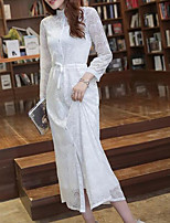 Women's Daily Modern/Comtemporary Spring Blouse Dress Suits,Solid Stand Long Sleeve