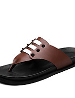 Men's Slippers & Flip-Flops Comfort PU Summer Casual Comfort Split Joint Flat Heel Dark Brown Brown Black Flat