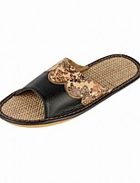 Summer Comfy Mens Floral Pattern Linen Slippers for Home Flats Shoes